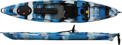 moken 12.5 in navy camo showing optional rudder system