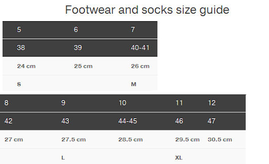 Size chart for Palm footwear