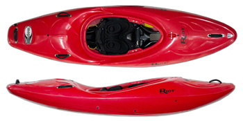 Riot Magnum 72 white water creek kayak in red