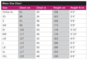 Size chart for Typhoon drysuits